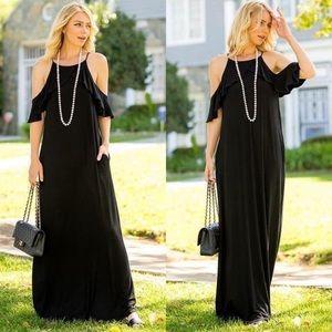 BLACK Ruffle Cold Shoulder Maxi Dress